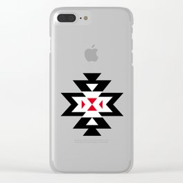 Navajo Aztec Pattern Black White Red on Light Brown Clear iPhone Case