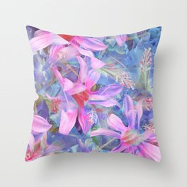 blooming pink and blue daisy flower abstract background Throw Pillow