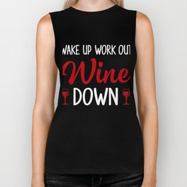 Cool Gift For Workout And Wine Lover. Biker Tank