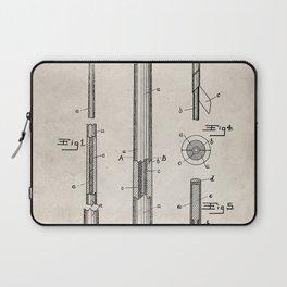 Pool Cue Patent - 9 Ball Art - Antique Laptop Sleeve