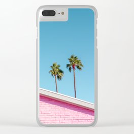 Pink House Roofline with Palm Trees (Palm Springs) Clear iPhone Case