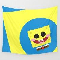 spongebob Wall Tapestries featuring Spongebob Squarepants by Eyetoheart