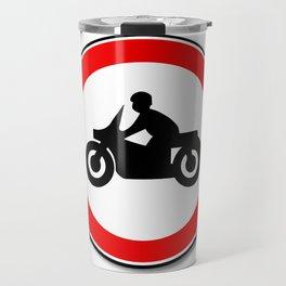 Motorcycle Round Traffic Sign Travel Mug