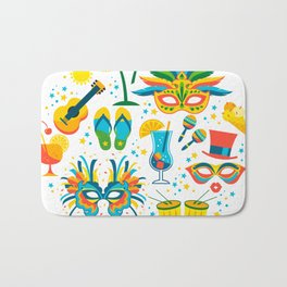 Colorful Brazilian Carnaval mandala Bath Mat