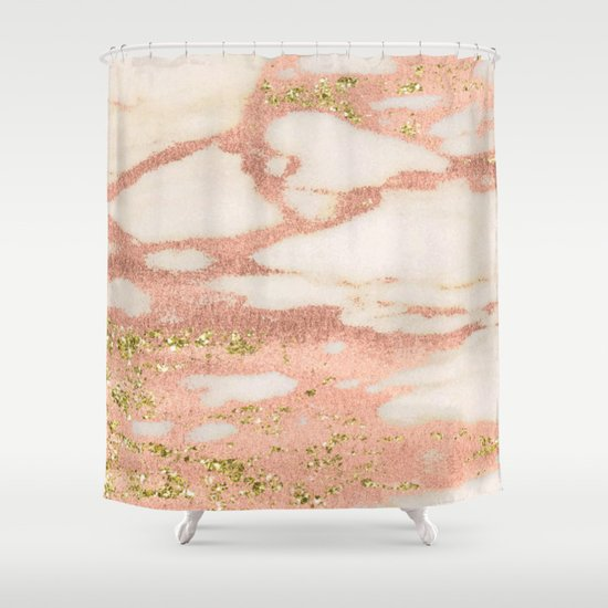 pink and gold shower curtain. Marble  Rose Gold Shimmer with Yellow Glitter Shower Curtain by naturemagick Society6