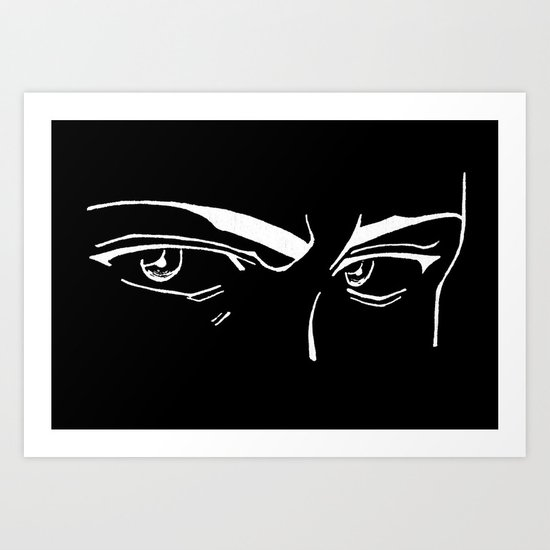 Doubt eyes bw Art Print