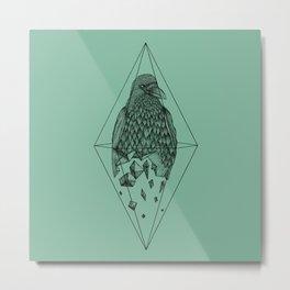 Geometric Crow in a diamond (tattoo style - black and white version) Metal Print