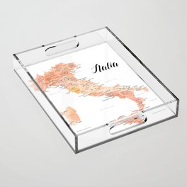 Rose gold Italy map in watercolor Acrylic Tray