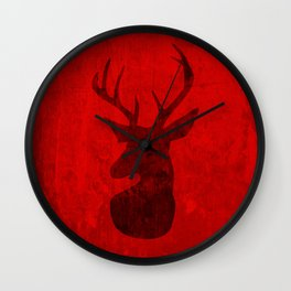 Red Deer Stag Design Wall Clock