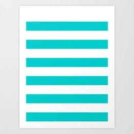 Horizontal Stripes - White and Cyan Art Print