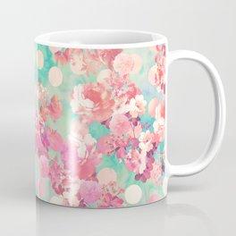 Romantic Pink Retro Floral Pattern Teal Polka Dots Coffee Mug
