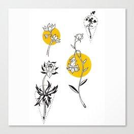 Wildflowers Circular Gold Ink Illustration Canvas Print