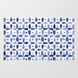 Imperfect Geometry Blue Petal Grid Rug
