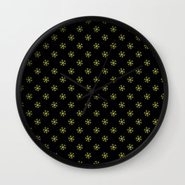 Electric Yellow on Black Snowflakes Wall Clock