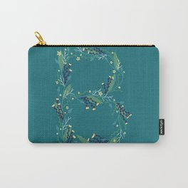 Turquoise flowers alphabet B Carry-All Pouch