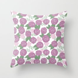 Purple, Lilac, Sage Floral Pattern Throw Pillow