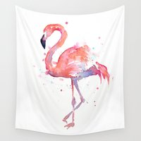 flamingo Wall Tapestries featuring Flamingo  by Olechka
