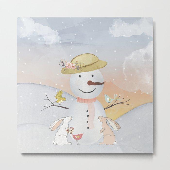 Winter Wonderland- Snowman birds and bunnies - Watercolor illustration Metal Print