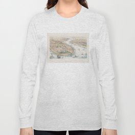 Vintage Pictorial Map of New York City (1852) Long Sleeve T-shirt