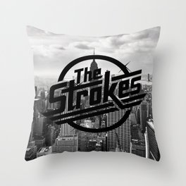 The Strokes Logo New York Black And White Throw Pillow