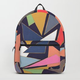 Modern Contemporary Gold Strokes Colorful Triangles Backpack