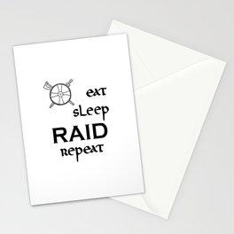 eat-sleep-RAID-repeat black, Vikings Stationery Cards