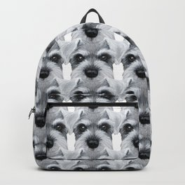 Schnauzer pattern-Grey Dog illustration original painting print Backpack