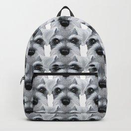 Schnauzer pattern-Grey Dog illustration original painting print Backpack