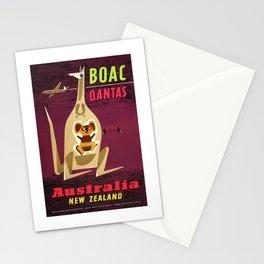 1960 Australia New Zealand BOAC  Qantas Advertising Poster Stationery Cards