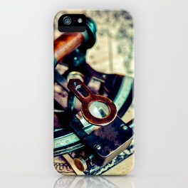Still Life With A Vintage Naval Sextant Or Index Glass On An Old Map iPhone Case