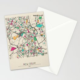 Colorful City Maps: New Delhi, India Stationery Cards