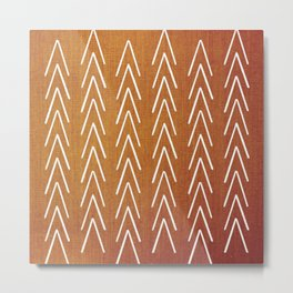 Mudcloth White Geometric Shapes in Burnt Orange-ARROWS 4 Metal Print