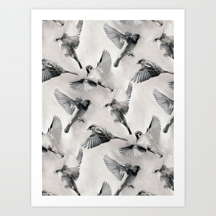 Sparrow Flight - monochrome Art Print
