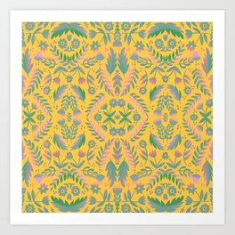 Folk Art Flowers Pattern - Yellow, Green, Purple Art Print
