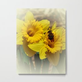 Daffodils and the Bee Metal Print