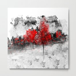 Icy Red Landscape Metal Print