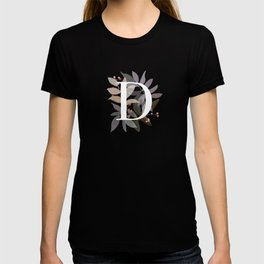 Floral Initial D - Rustic Watercolor Letter - Typography - Wreath Design T-shirt
