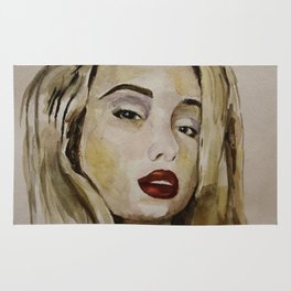 blonde with red lips Rug