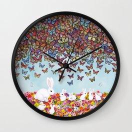 bunnies, flowers, and butterflies Wall Clock