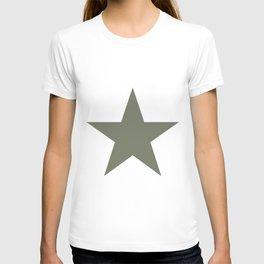 Olive green single star on white T-shirt