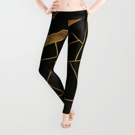 Black Night and Gold - Abstract Stone Mosaic Leggings