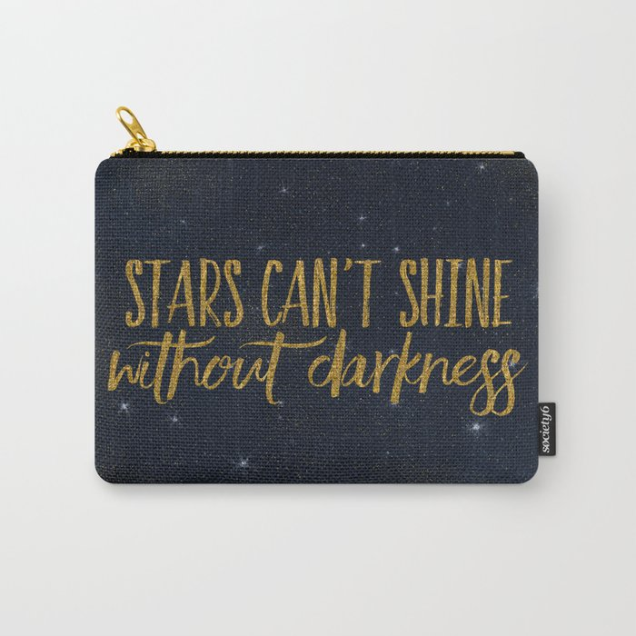 Stars- Darkness - sparkling gold glitter effect night typography Carry-All Pouch