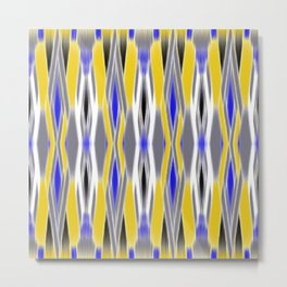 ikat geo in yellow with a splash of blue Metal Print