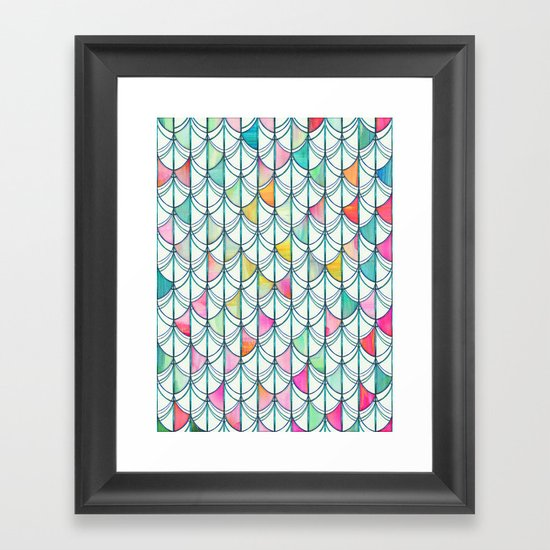 Pencil & Paint Fish Scale Cutout Pattern - white, teal, yellow & pink Framed Art Print