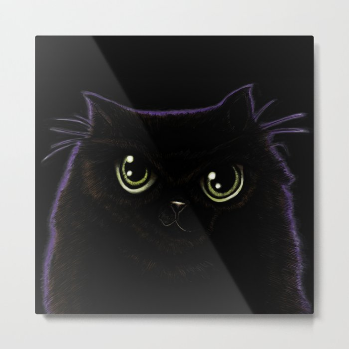My fat, black cat with green eyes and a purple aura! Metal Print