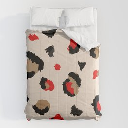 Red Lipstick and Leopard Kisses Comforters
