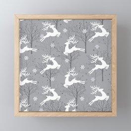 X Reindeers Leaping Framed Mini Art Print
