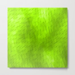 Line texture of green oblique dashes with a dark intersection on a luminous charcoal. Metal Print