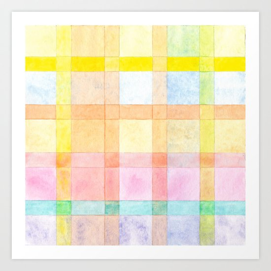 Pastel colored Watercolors Check Pattern Art Print