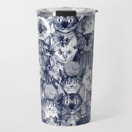 CHRISTMAS CATS blue Travel Mug